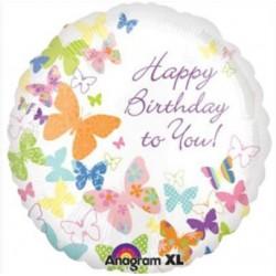 "Happy Birthday Feminine Fun Pink Round Balloon - 18"" Foil"